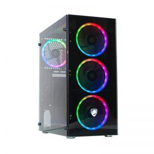VỎ MÁY TÍNH VITRA HERA L106 BLACK  2 MẶT KÍNH – 3Fan Rainbow RGB