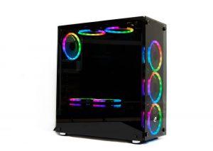 Vỏ máy tính Vitra Quinn W330 Temper Glass kèm 3*Fan Leo Dual Ring RGB