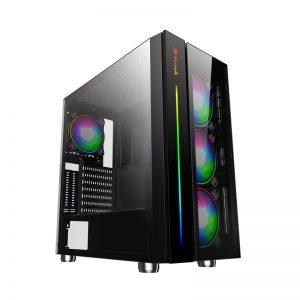 VỎ MÁY TÍNH VITRA NEFERTITI W1 RGB E-ATX kèm 3 Fan Leo Dual Ring RGB