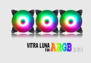 COMBO 3* FAN VITRA LUNA A-RGB AURA SYNC 3 IN 1 Kèm điều khiển