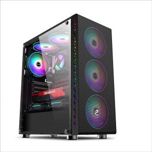 Vỏ máy tính Vitra Glitter Force X5 Black kèm 3*Fan LED 12CM