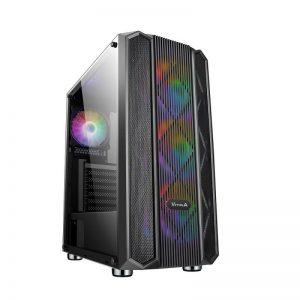 VỎ MÁY TÍNH VITRA NEFERTITI Q1 E-ATX kèm 3 Fan Leo Dual Ring RGB