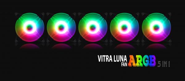 BỘ 5 FAN VITRA LUNA A-RGB AURA SYNC 5 IN 1 (kèm điều khiển)